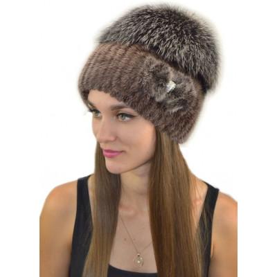 Женская шапка из вязаной норки НВ 037
