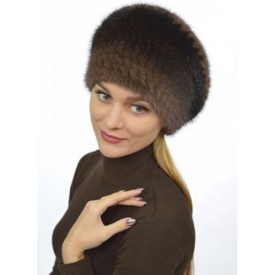 Вязаная шапка из норки НТ 014