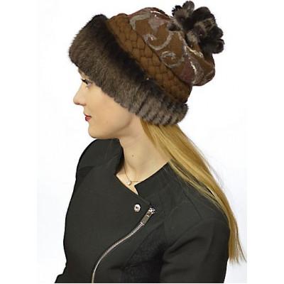 Коричневая шапка с мехом норки НТ 053в