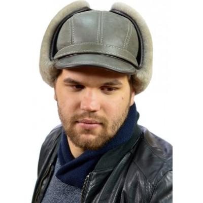 Мужская меховая шапка серая МБ 013