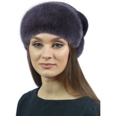 Женская шапка из норки. Норка на трикотаже НТ-025