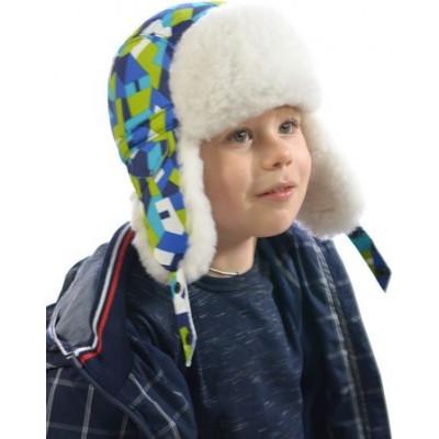 Детская шапка ДМ-018, из плащевки  и искусственного меха