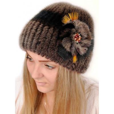 Женская шапка из вязаной норки НВ 039
