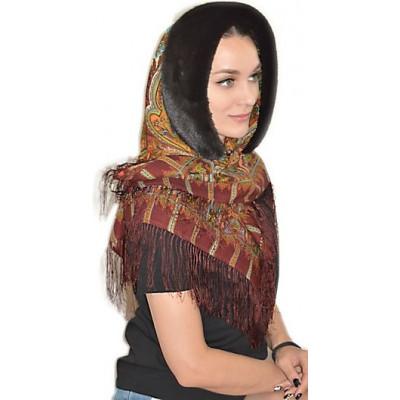 Зимний платок с мехом Шафран  ПТ-032