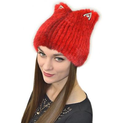 Красная меховая шапка НТ 018