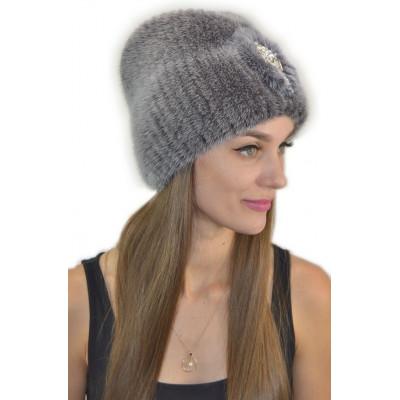Женская шапка из вязаной норки НВ 075