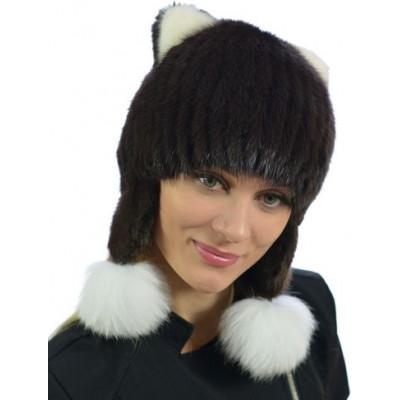 Зимняя шапка из вязаной норки НВ 040