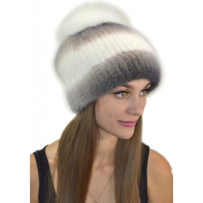Женская шапка из вязаной норки НВ 038