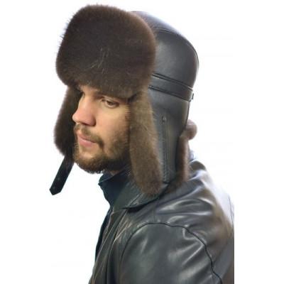 Мужская шапка ушанка из меха канадского бобра ВК-078-М