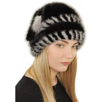 Женская норковая шапка чёрного цвета НВ 084