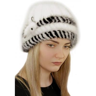 Белая норковая шапка НВ-086