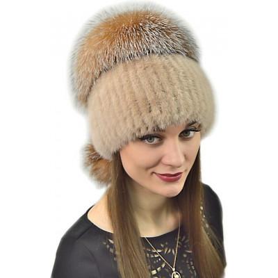 Норковая шапка с лисой НП 025