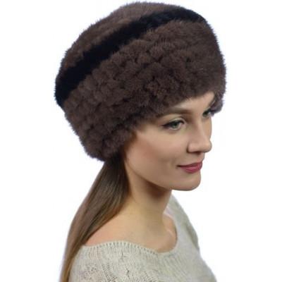 Женская шапка из вязаной норки НВ 033