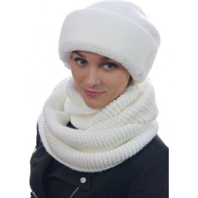 Комплект снуд и шапка белого цвета БК-063