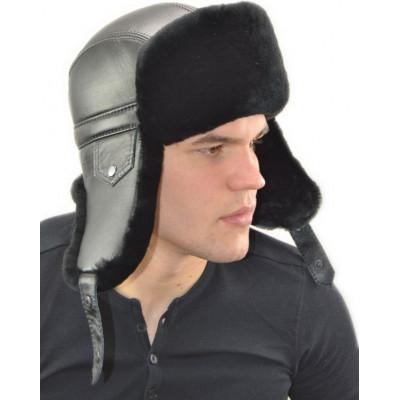 Мужская шапка ушанка из мутона ВК-057-М