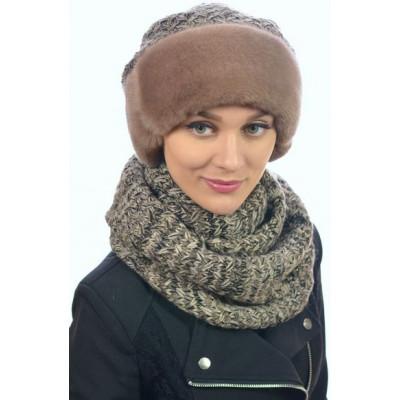 Комплект из зимней шапочки с норкой  и шарфа-снуда ТМ-029