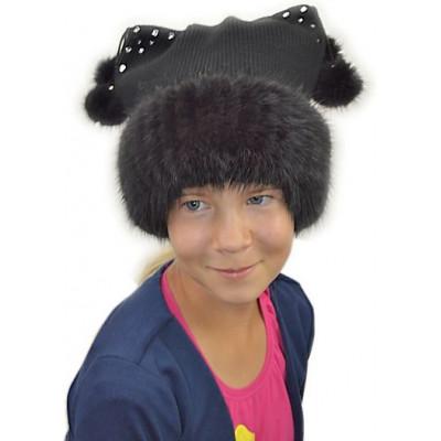 Детская шапочка с помпонами ДВ 042