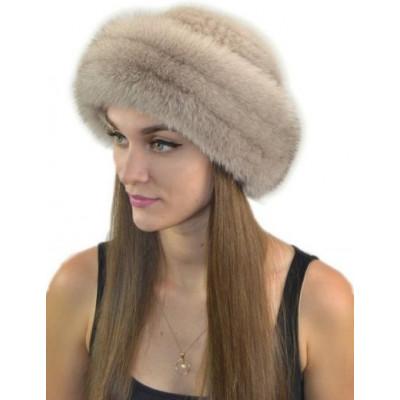 Женская шапка из песца и вязаной норки НВ-005