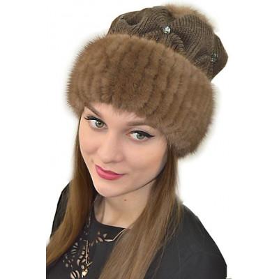 Норковая шапка на трикотаже НТ 045