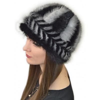 Женская шапка из вязаной норки НВ 064
