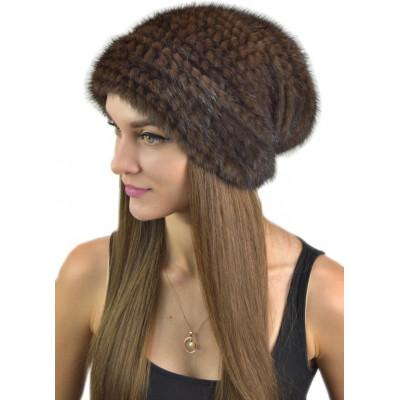 Женская шапка из вязаной норки НВ-032в