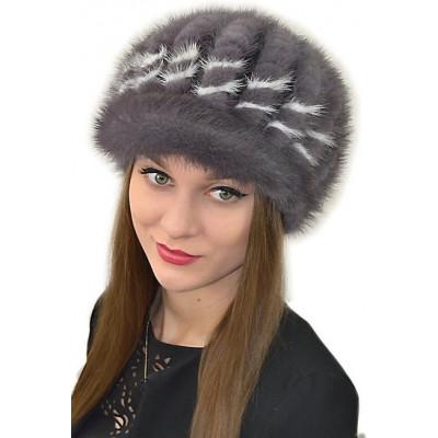 Женская шапка из вязаной норки НВ 054